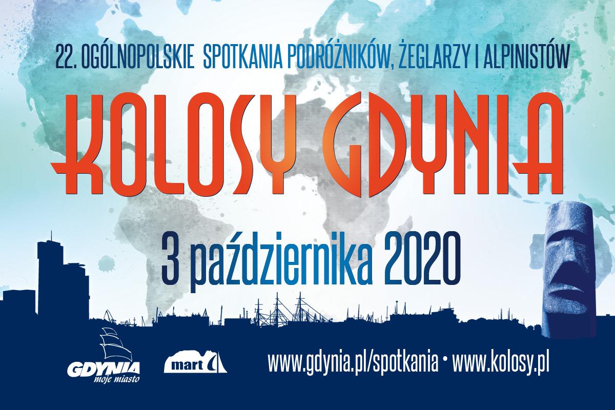 Plakat przedstawiający statuetki-nagrody dedykowny 22 edycji Ogólnopolskich Spotkań Podróżników, Żeglarzy i Alpinistów w Gdyni