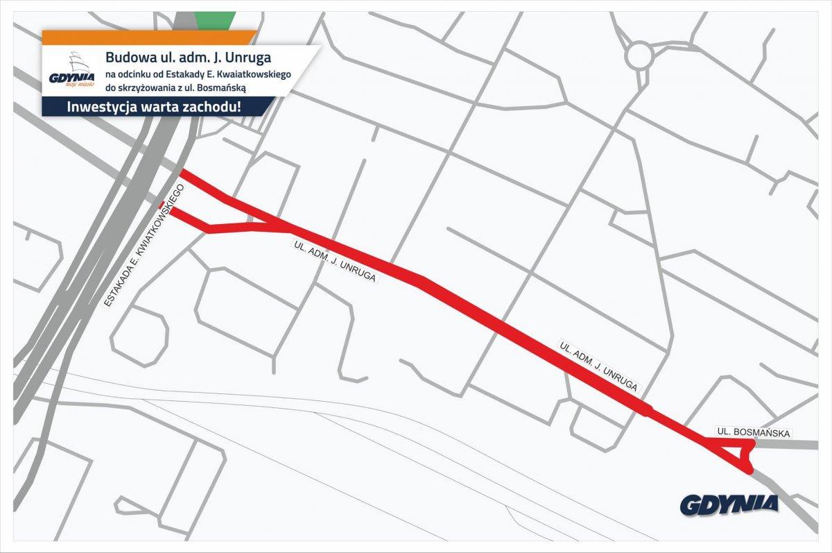 Mapa z zaznaczonym zakresem przebudowy ulicy Unruga na Obłużu