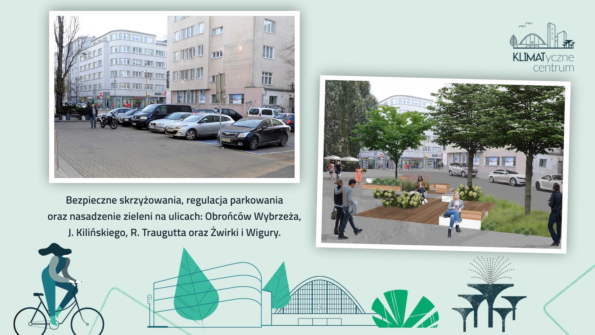 Bezpieczne skrzyżowania, regulacja pakowania oraz nasadzenie zieleni na ulicach: Obrońców Wybrzeża, Kilińskiego, Traugutta, Żwirki i Wigury