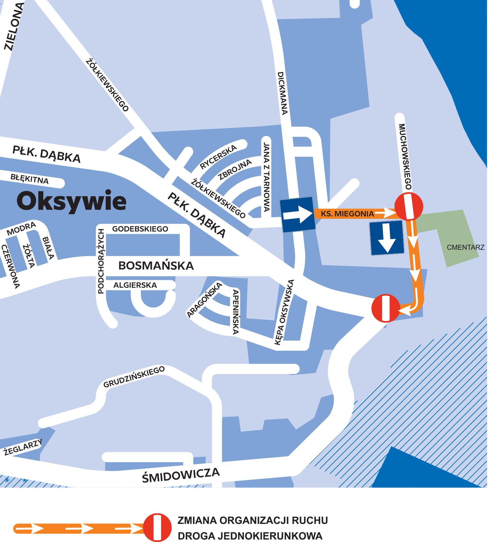 Grafika przedstawia zmiany w organizacji ruchu w obrębie cmentarza na Oksywiu