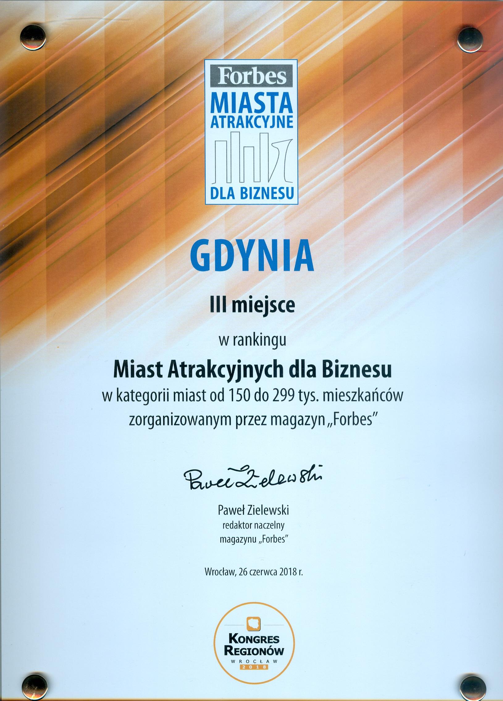 3 miejsce dla Gdyni w rankingu Miast Atrakcyjnych dla Biznesu