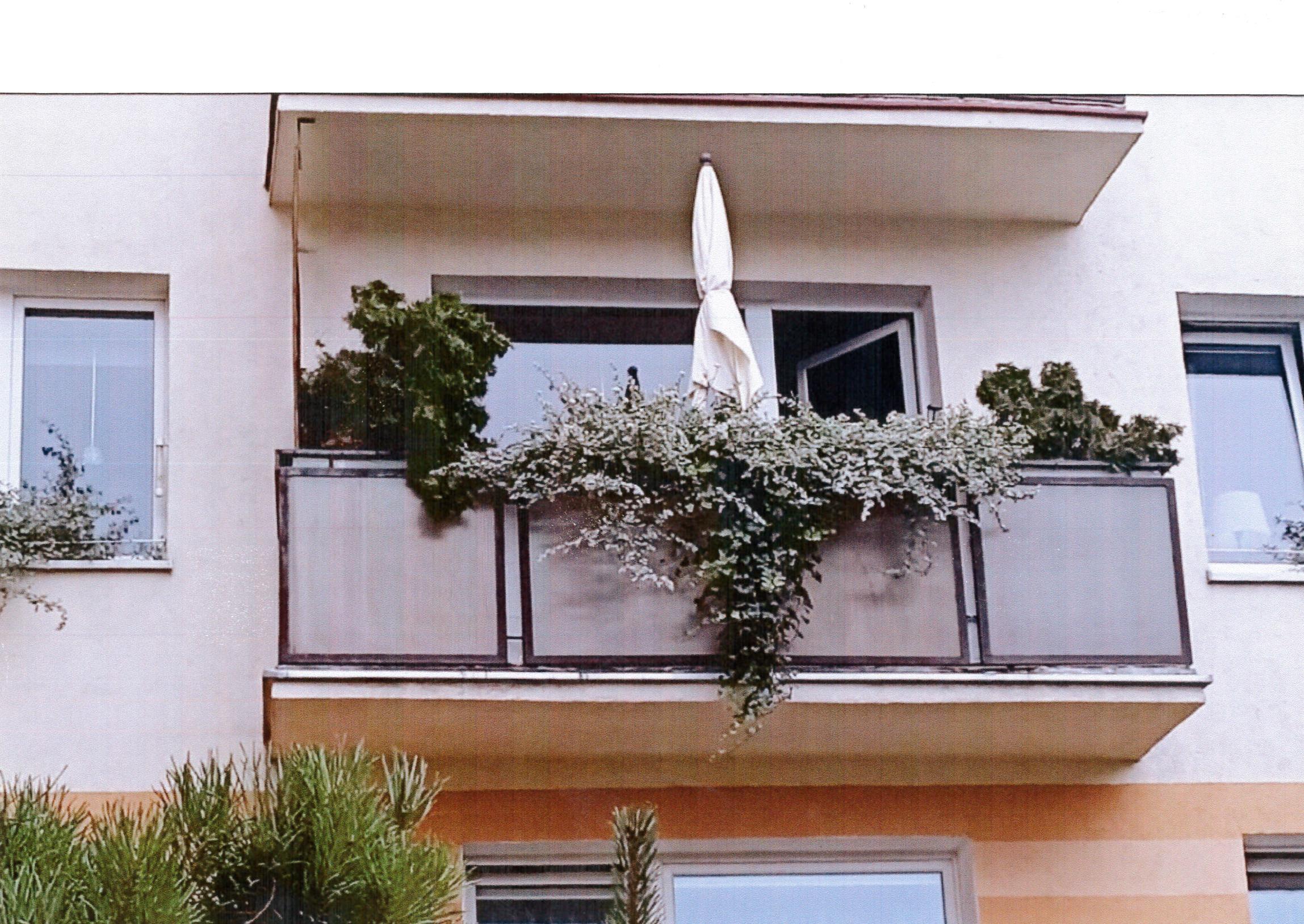 Aranżacja balkonu autorstwa Stanisława Antczaka z przewagą rdestu Auberta i traw