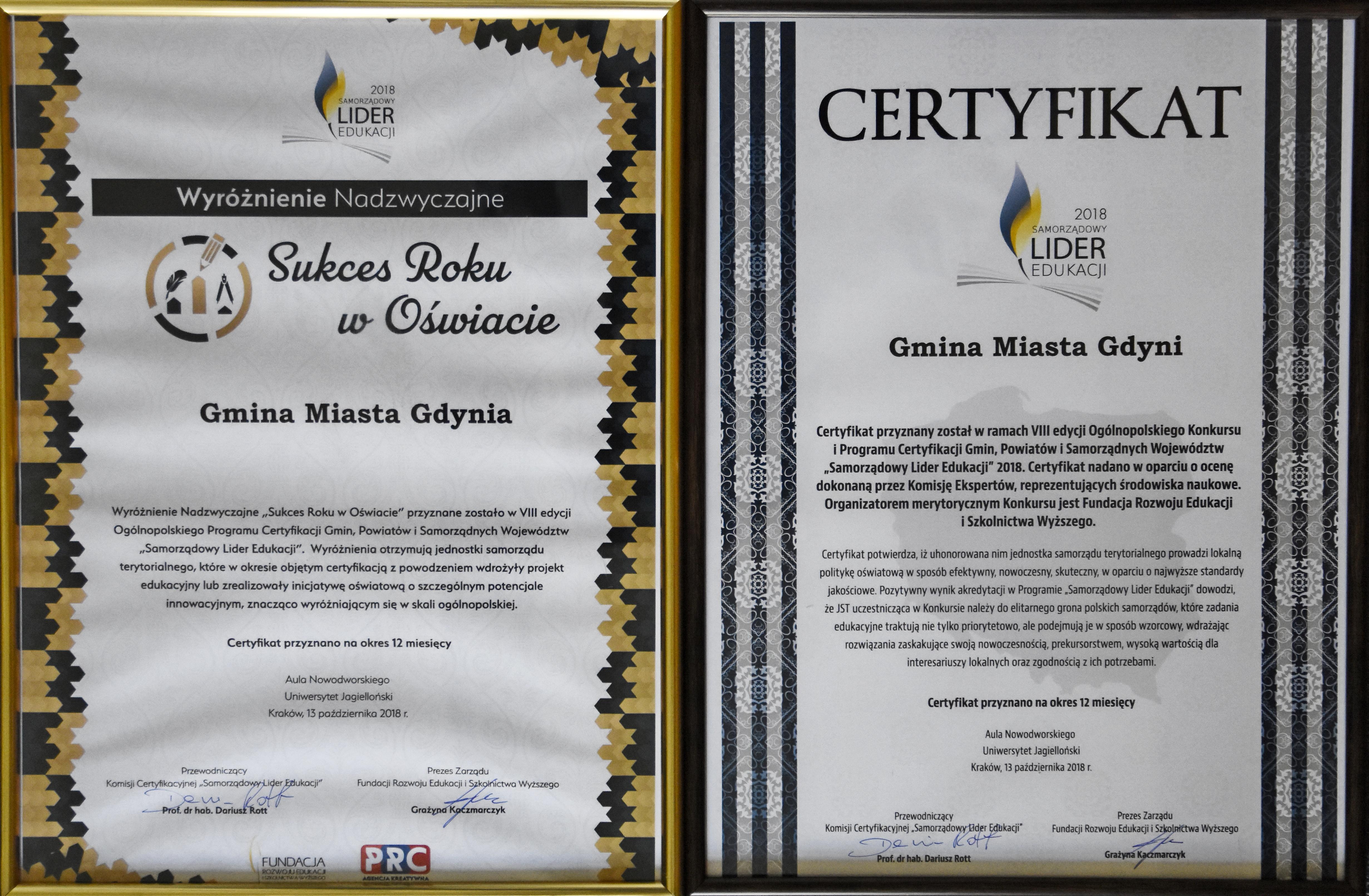 Certyfikaty Gdynia - Samorządowy Lider Edukacji, fot. Michał Kowalski