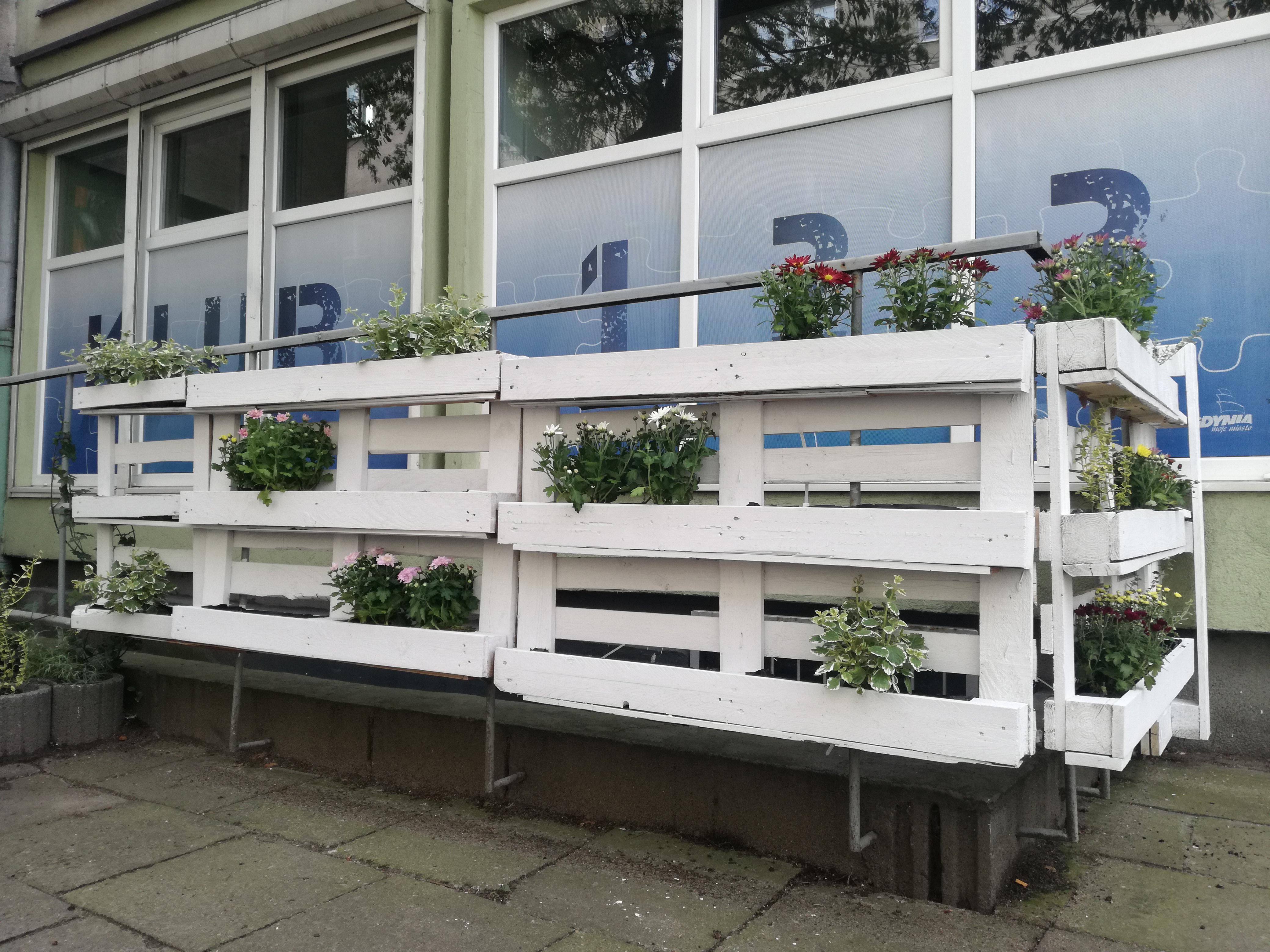 Ogród Centrum Samopomocy stworzony z palet pomalowanych na biało, w których umieszczone są doniczki z kwiatami i ziołami
