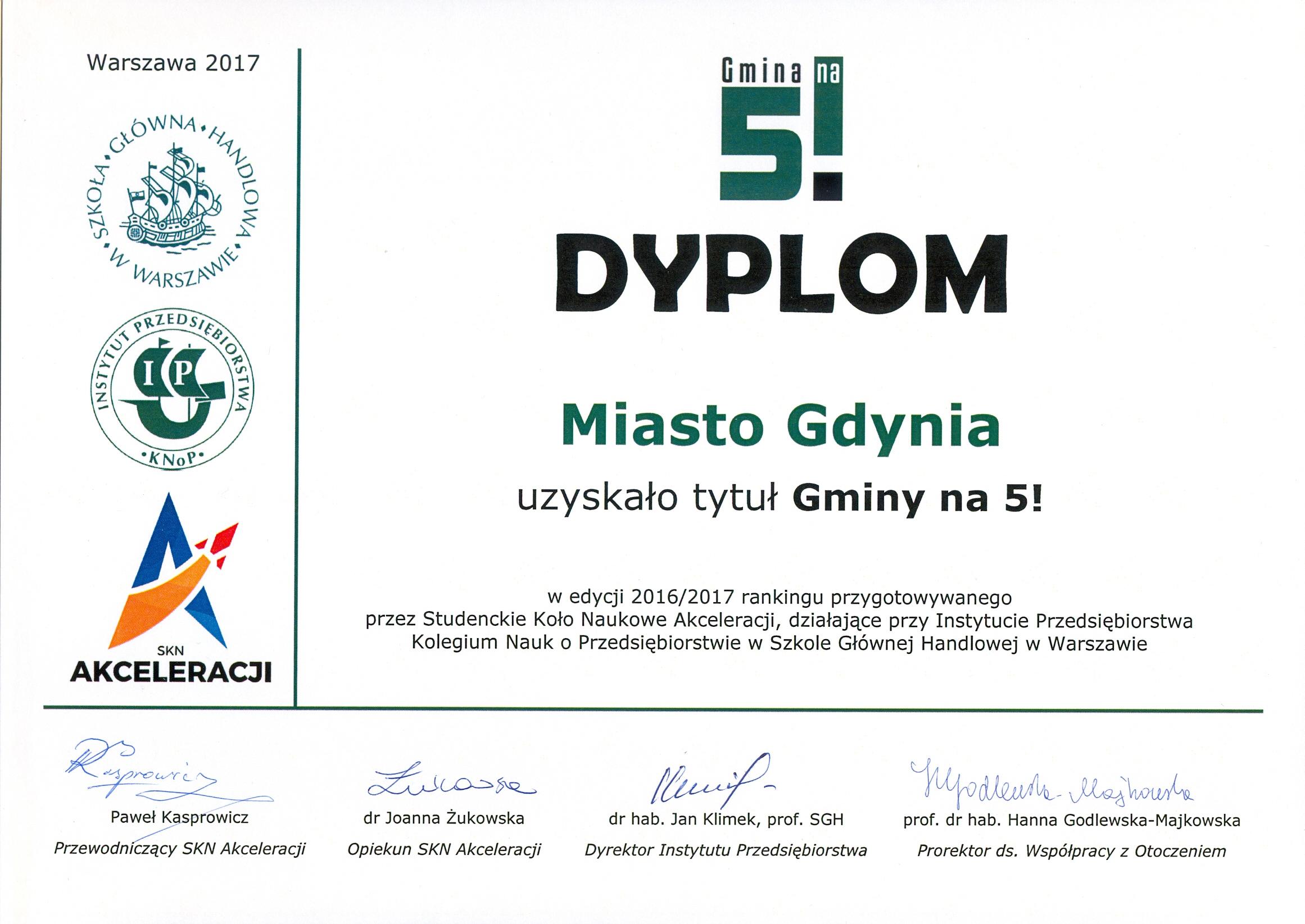 Dyplom Gdynia Gminą na 5