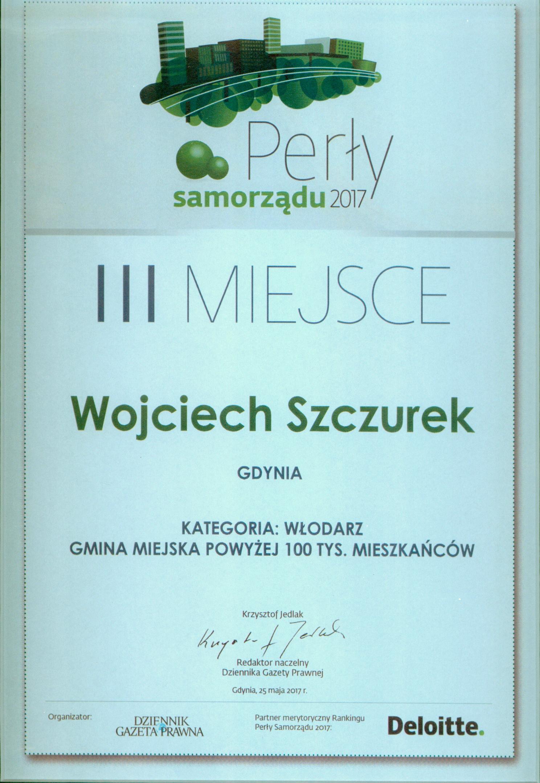 """Dyplom dla Wojciecha Szczurka za III miejsce w kategorii """"Włodarz miasta powyżej 100 tys. mieszkańców""""."""