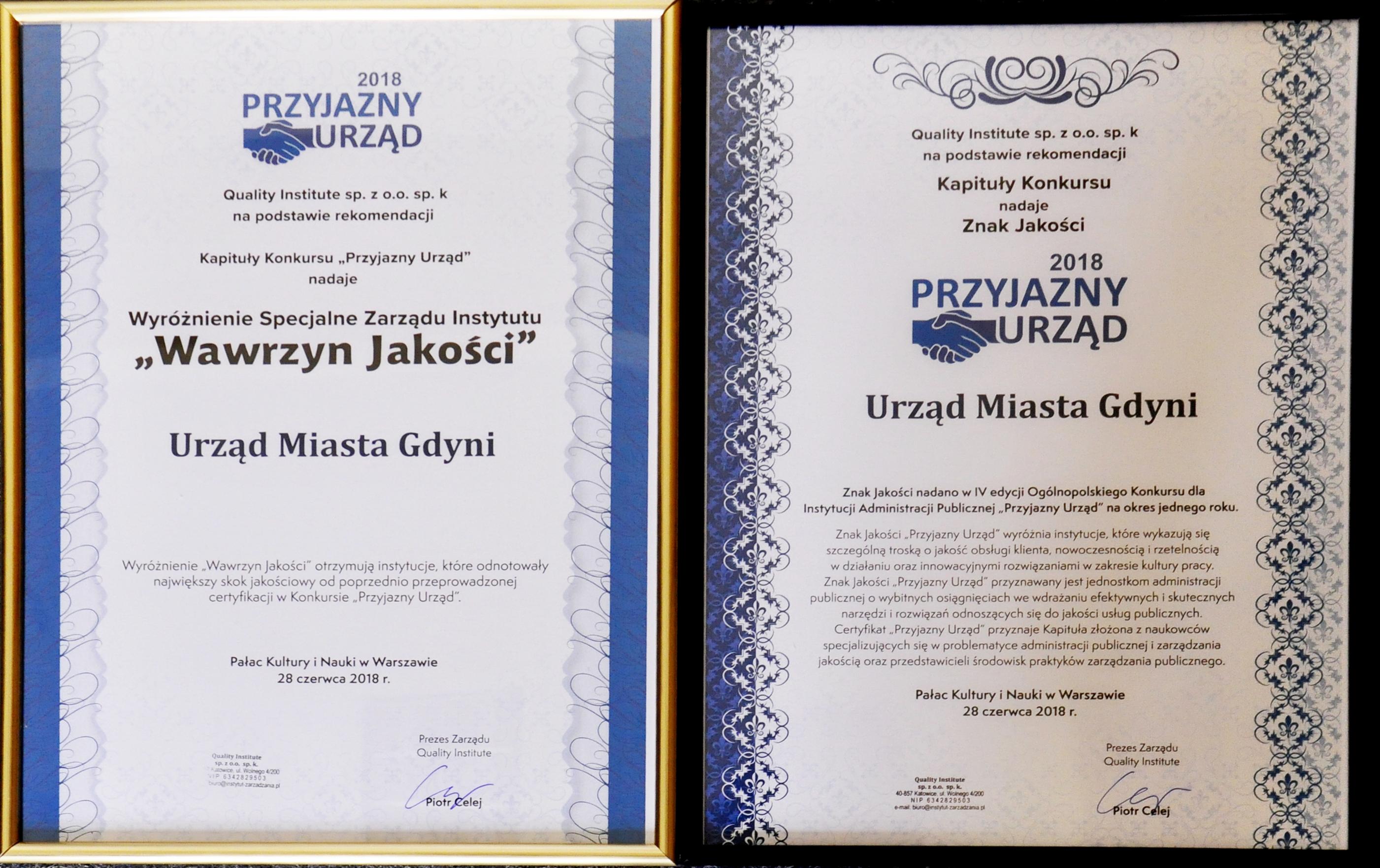 Dyplomy Przyjazny Urząd 2018