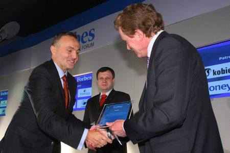 Nagroda Forbes - odbiera prezydent Gdyni Wojciech Szczurek