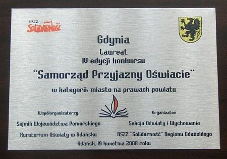 Samorząd Przyjazny Oświacie 2008