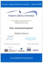 Krajowi Liderzy Innowacji - dyplom Gdyni