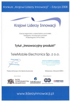 Krajowi Liderzy Innowacji - dyplom Telemobile