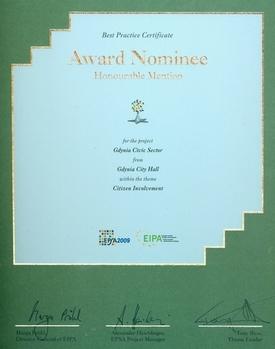 wyróżnienie EPSA 2009 - dyplom