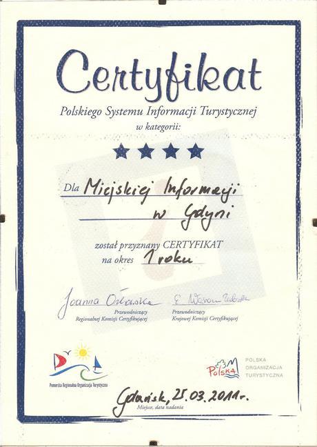 Cztery gwiazdki dla Miejsckiej Informacji w Gdyni