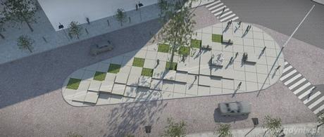 Pomnik stanie na placu gdynian wysiedlonych - praca autorstwa Biura Projektów Budownictwa Komunalnego w Gdańsku