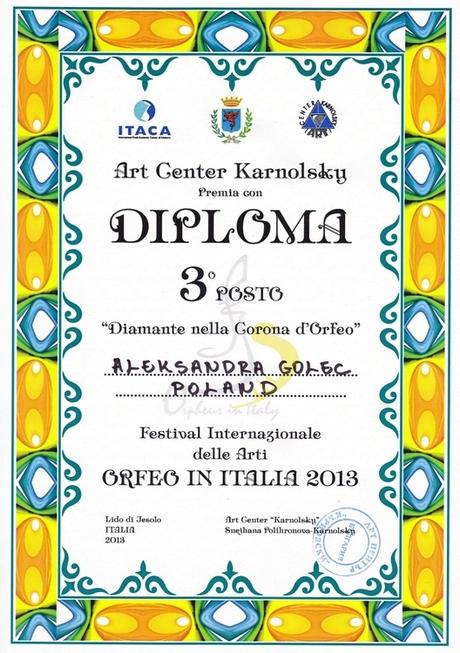 Dyplom za 3 miejsca dla Aleksandry Golec