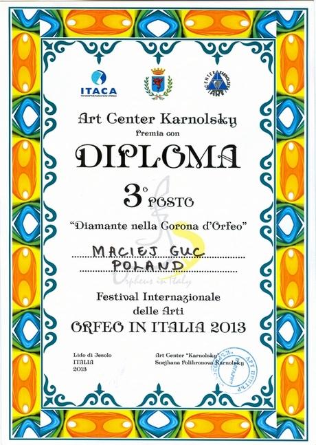 Dyplom za 3 miejsca dla Macieja Gucia