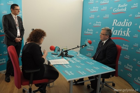 Prezydent RP Bronisław Komorowski udziela wywiadu Radiu Gdańsk, fot. Dorota Nelke