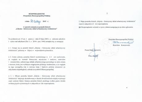 Tekst rozporządzenia w sprawie uznania za pomnik historii Gdynia - historyczny układ urbanistycny śródmieścia