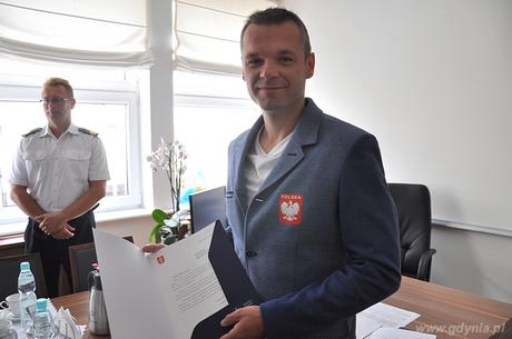 Olimpijczyk Piotr Daniluk z wizyt� w gdy�skim Ratuszu, fot. Dorota Nelke