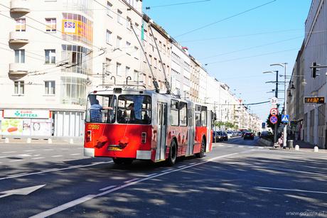 Odrestaurowany trolejbus ZIU-682B na ulicy Świętojańskiej, fot. Michał Kowalski