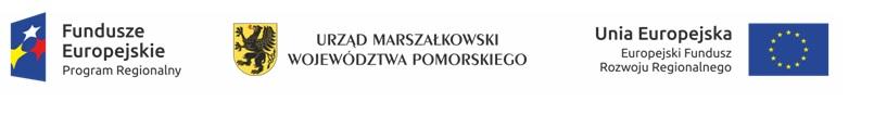 Logotypy Fundusze Europejskie, Samorząd Województwa Pomorskiego, Unii Europejskiej