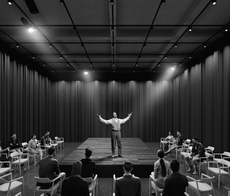 W związku z potrzebą zmiennej lokalizacji widowni i sceny przewidujemy zastosowanie sceny mobilnej, montowanej na potrzeby spektaklu w różnych częściach foyer - tłumaczą autorzy projektu,fot. materiały prasowe pracowni WXCA Sp. z o.o.
