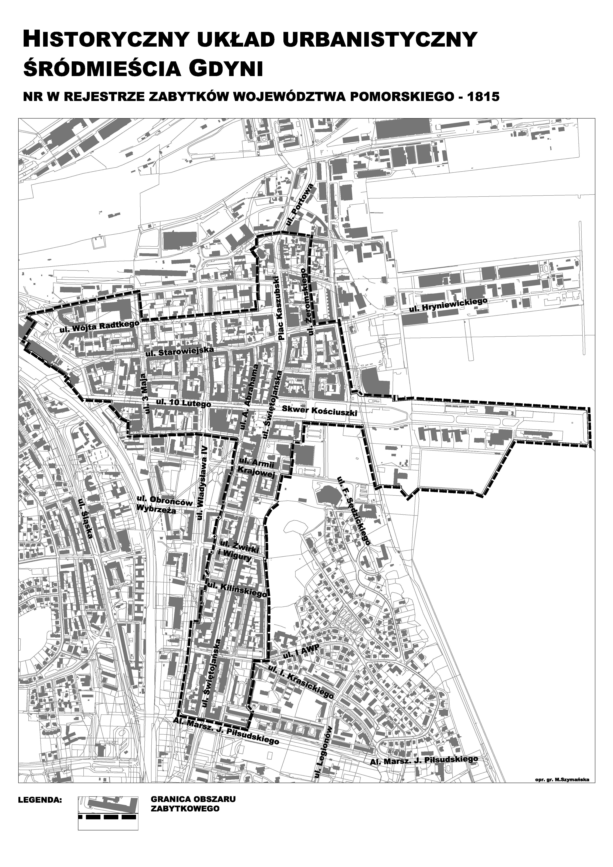 Granice historycznego układu urbanistycznego Śródmieścia Gdyni
